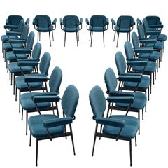 Large Set of Twenty Blue Velvet Italian Chairs