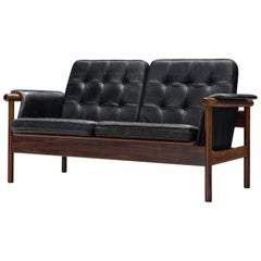 Karl-Erik Ekselius Black Leather and Rosewood Sofa