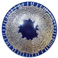 large Japanese Gilded Blue Porcelain Centerpiece by Master Artist, circa 2005