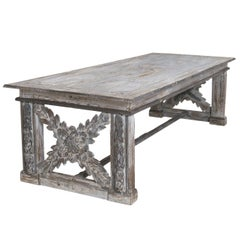 Large 19th Century Richly Carved Trestle Table in Original Paint from Tuscany