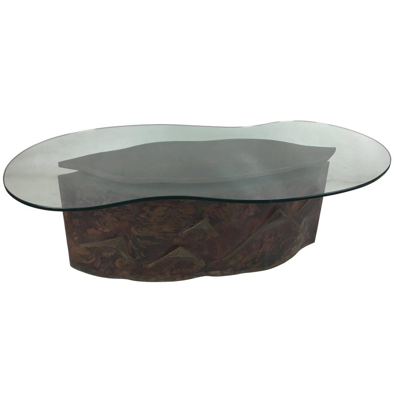 Sculptural Bronze Coffee Table in the Style of Philip & Kelvin Laverne For Sale