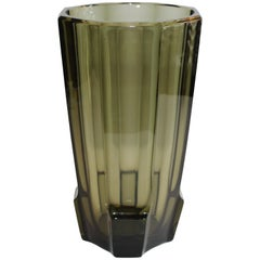Art Deco Faceted Black Glass Vase in the Style of Moser
