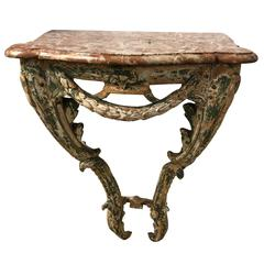 18th Century, French Carved Wood and Marble Console