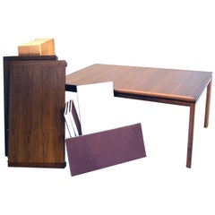 Complete Oiled Walnut Dining Table by Dunbar with All Accessories