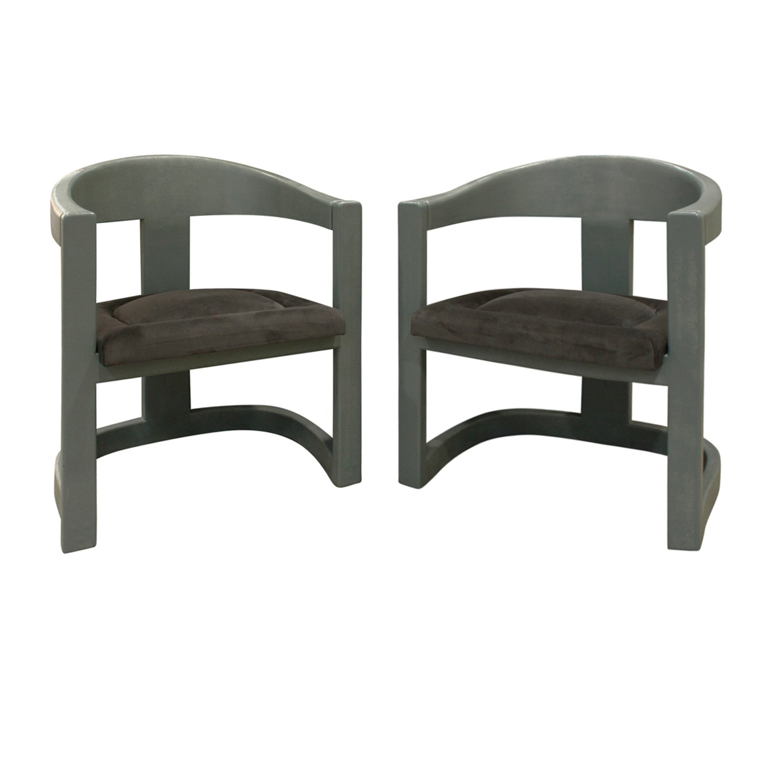 """Karl Springer Pair of """"Onassis Chairs"""" in Embossed Reptile Leather, 1970s"""