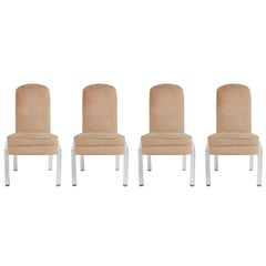Lucite and Alcantara Dining Chairs, Set of Four, circa 1970