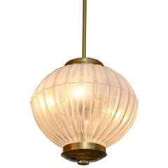 1950s Italian Brass and Glass Ball Chandelier by Seguso