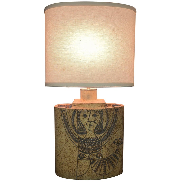 Elliptical Ceramic Table Lamp by Roger Capron circa 1960 Made in France For Sale