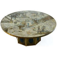 """Large Polychromed Bronze """"Chan"""" Cocktail Table by Philip & Kelvin Laverne"""