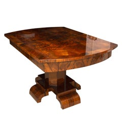 Art Deco Adjustable Dining Table in Walnut Veneer from the 1930s