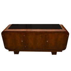 Art Deco Walnut Commode or Sideboard, 1930s, Bohemia