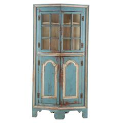 19th Century American Blue Painted Corner Cabinet in Eastern Shore style