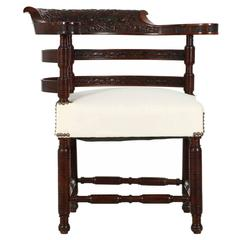 Aesthetic Movement Carved Rosewood Corner Chair, circa 1880