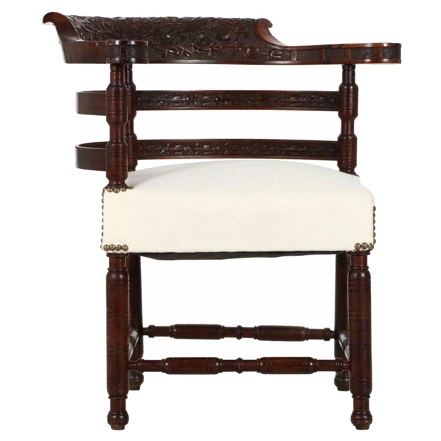 Antique corner chairs - Aesthetic Movement Carved Rosewood Corner Chair Circa 1880