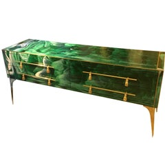 Italian Green Opaline Glass Chest of Drawers Malachite Effect and Brass, 1970s
