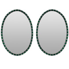 Pair of Stunning Irish Mirrors in Clear and Emerald Crystal