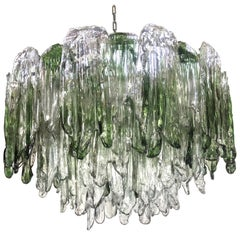 Large Green and Clear Textured Glass Chandelier by Salviati