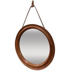 Mid-Century Modern Danish Teak Oval Mirror with Leather Hanger Strap