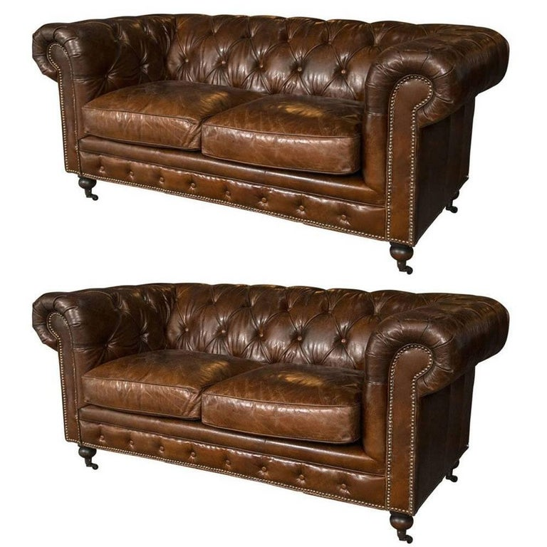 Pair of English Georgian Style Chesterfield Sofa Settees