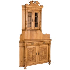 Antique Highly Carved, Pine Corner Cupboard