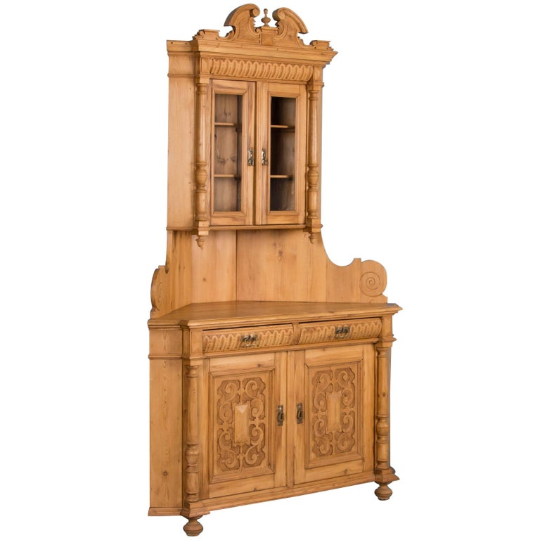 Antique Highly Carved, Pine Corner Cupboard For Sale - Antique Highly Carved, Pine Corner Cupboard For Sale At 1stdibs