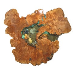 Large Wall-Mounted Crystal Gemstone and Wood Wall Sculpture