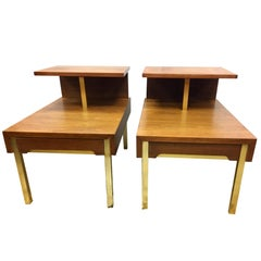 Pair of Lane Altavista Mid Century Modern Two-Tiered End Side Tables