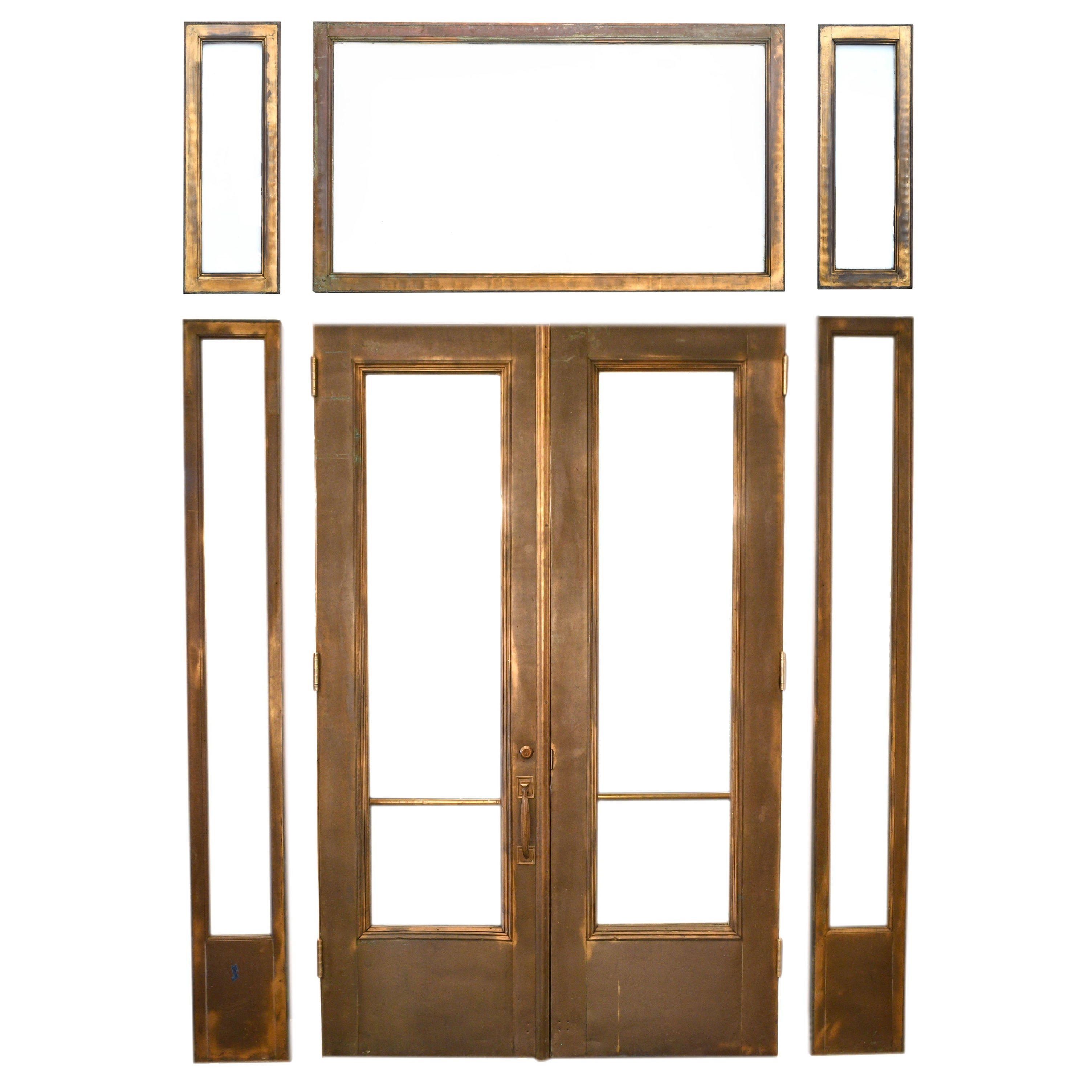 Br Clad Entry Double Doors With Sidelights And Transoms For At 1stdibs
