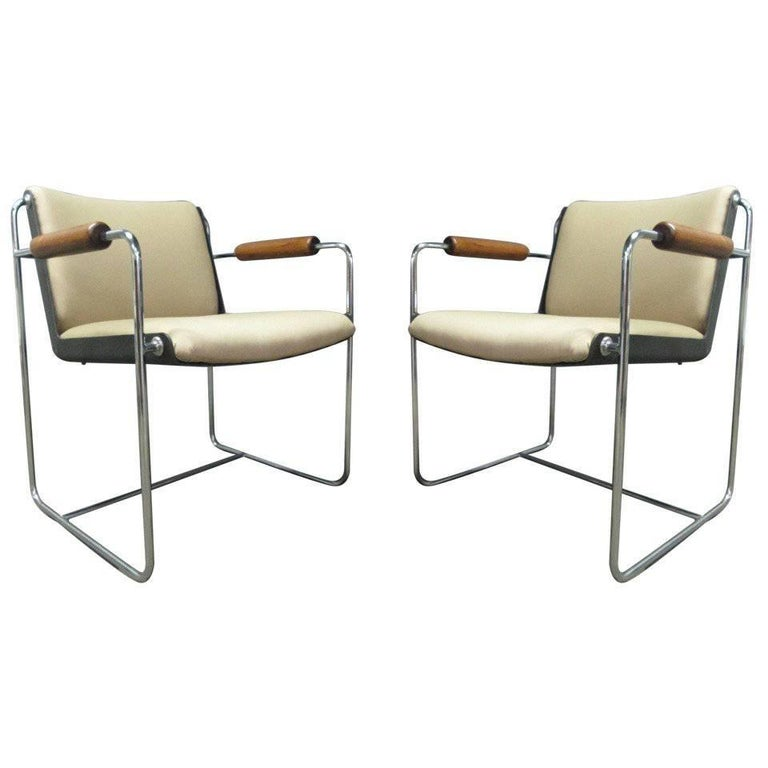 Pair of Unique, Wood and Chrome Armchairs