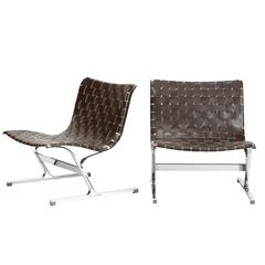 Pair of Italian Leather Lounge Chair LUAR by Ross Littell