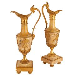 Pair of Empire Style Ormolu-Mounted Marble Vases