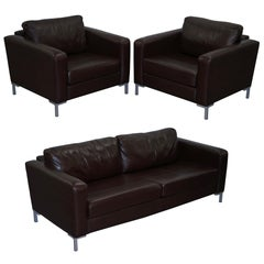 John Lewis Siren Aniline Brown Leather Suite Pair Armchairs Three-Seat Sofa
