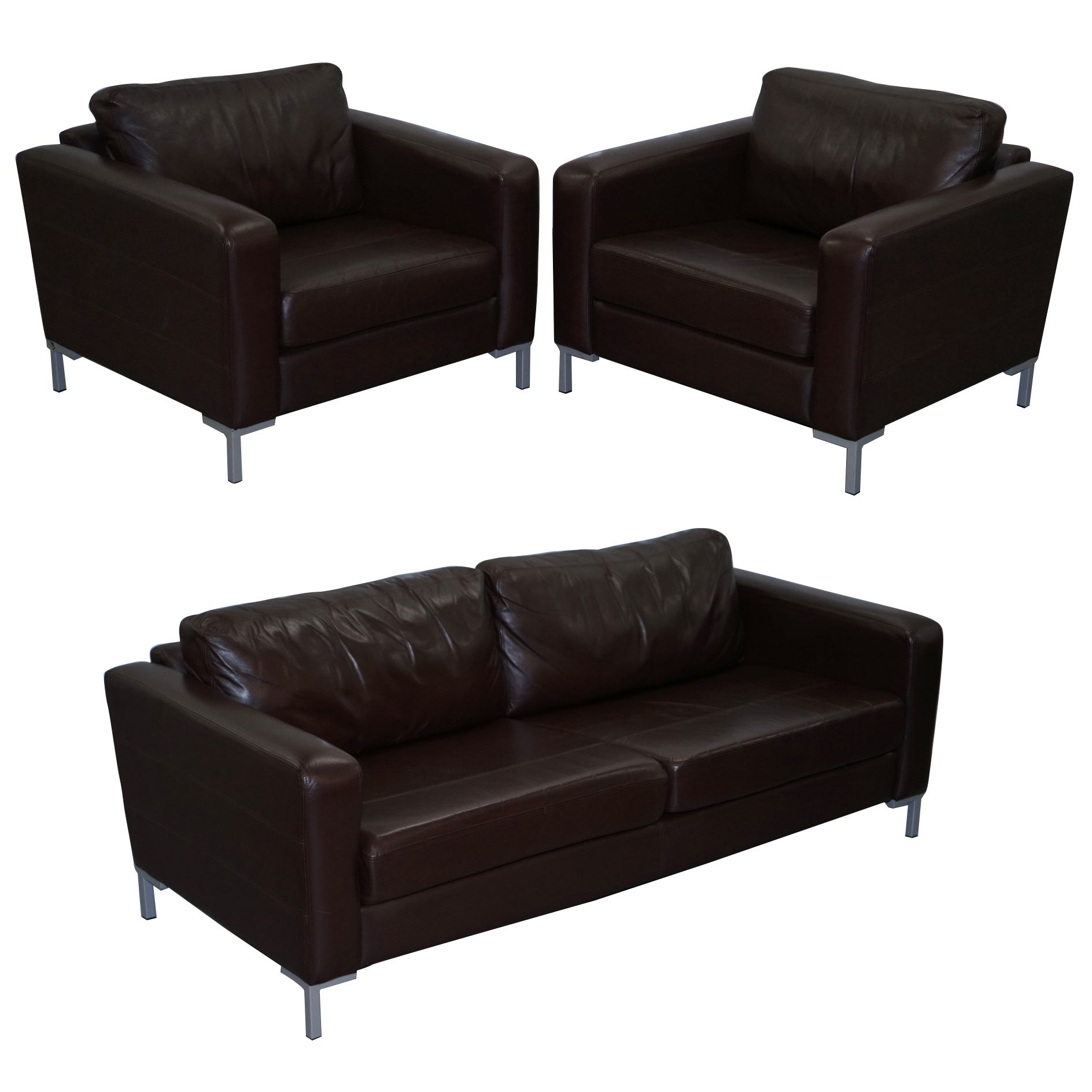 John Lewis Siren Aniline Brown Leather Suite Pair Armchairs Three Seat Sofa For At 1stdibs
