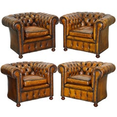 Set of 4 Restored Victorian Chesterfield Club Armchairs Hand Dyed Brown Leather
