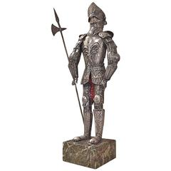 "Miniature German 800, Fine Silver ""Knight in Shinning Armor,"" 19th Century"