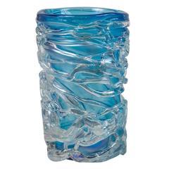 Massive Murano Blown Sky-Blue Vase