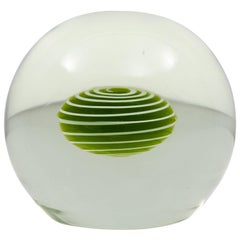 Large Murano Glass Paperweight with Green and White Swirled Core by Salviati