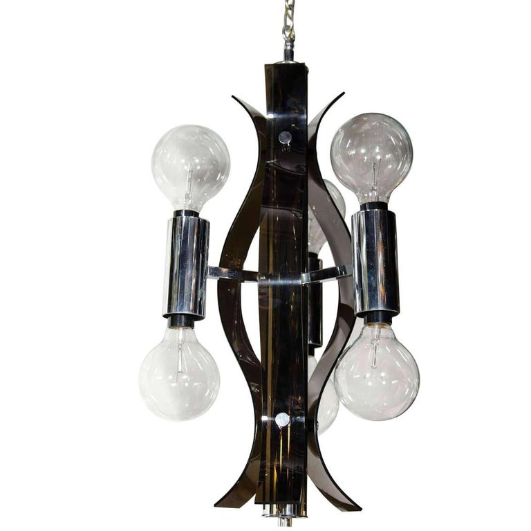 Mid Century Modern Sculptural Black Lucite Chandelier For Sale