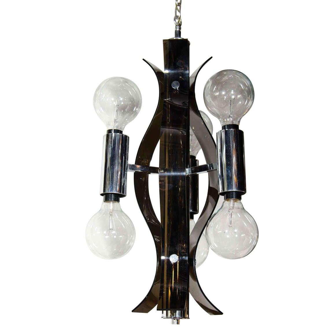 Mid Century Modern Sculptural Black Lucite Chandelier