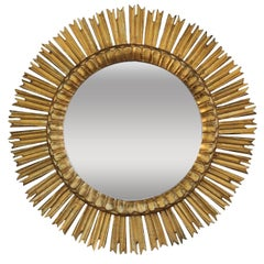 Midcentury French Sunburst Mirror with Original Mirror Glass
