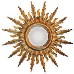 Midcentury French Double Layer Sunburst Mirror with Original Mirror Glass