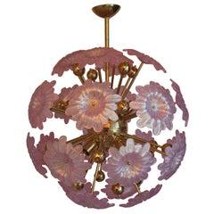Sputnik Chandelier with Murano Glass Pink Flowers