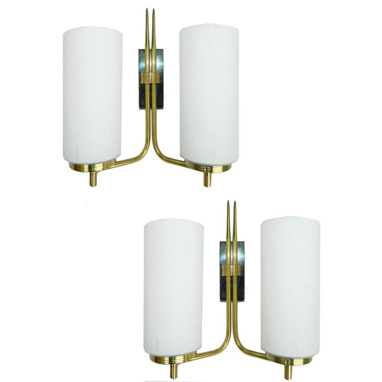 French Pair of 1960s Sconces
