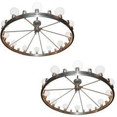 Pair of huge Industrial Twenty-Four-Light Chandelier