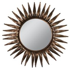 Unusual Sunburst Mirror in Copper Plated Metal