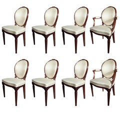 Set of Six Dutch Louis XVI Chairs and Two Armchairs