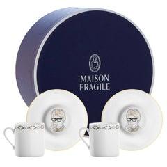 Chers Parisiens Limoges Porcelain Set 2 Coffee Cups