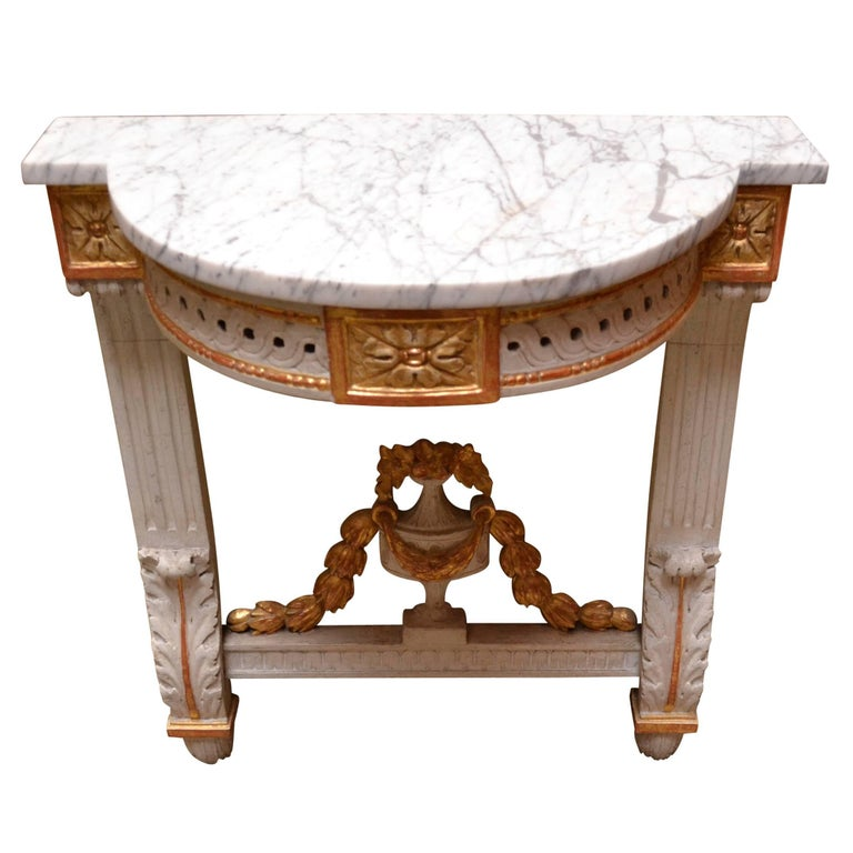 19th Century Danish Louis Seize Demilune Marble Top Wall Console For Sale