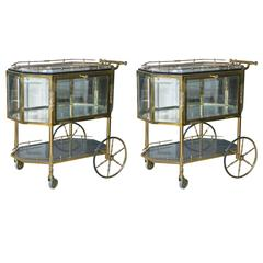 Bronze and Glass Vitrine Serving Tea Wagons