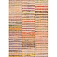 Late 20th Century Multicolored Striped Turkish Kilim Rug